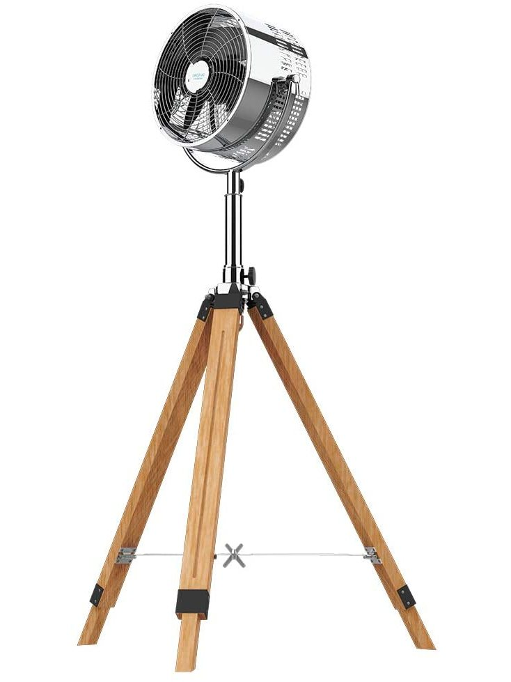 Cecotec Fan Tripod Stand ForceSilence 1600 Woody Smart. 4 Blades, 16 Inch, 40 Cm Diameter, 50 W, 3 Velocities, 3 Modes, Al