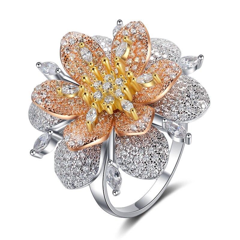 BALMORA réel 925 pur argent anneaux pour femmes fille exagéré cristal fleur bague bijoux Anillos cadeaux de noël pour elle - 6