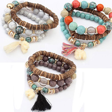 Women Multilayer Beads Bead Handmade Bracelets Florid Cool M