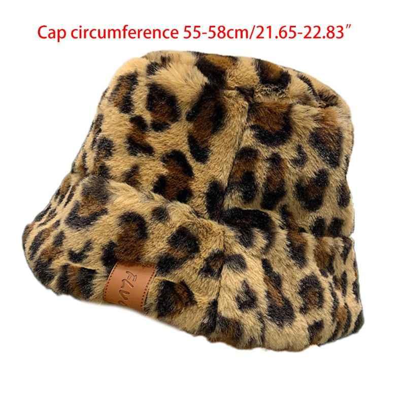MIKI-Z Women Winter Fluffy Plush Bucket Hat Leopard Printed Harajuku Warm Fisherman Cap