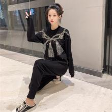 цена 2019 Winter Embroidery Sweater Two Piece Set Top And Pants Knit Set Women Knitted Fall Outfit Autumn Korean Style outfits