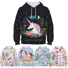 Fashion kids dab unicorn hoodie children cartoon 3d printed