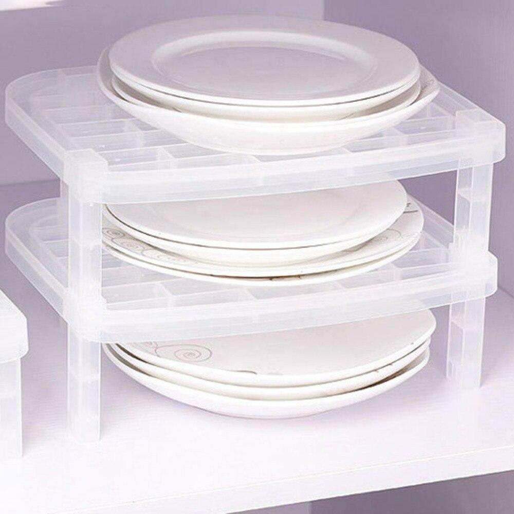 Creative Dish Transparent Kitchen Antibacterial Space-Saving Rack Single Layer Dish Plate Storage Vertical Rack Organizer
