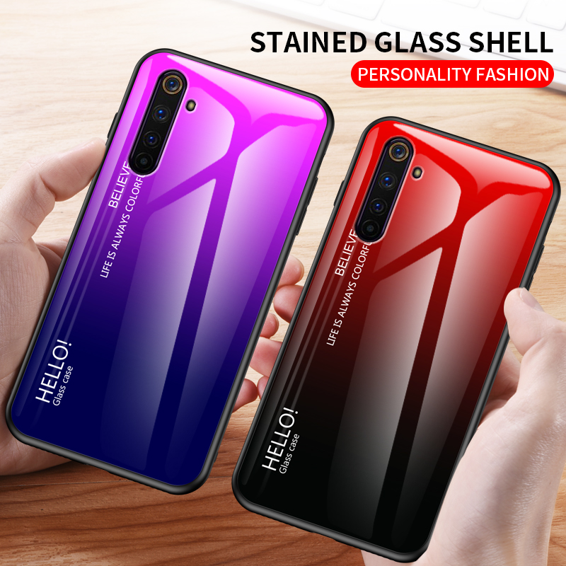 For Oneplus Nord Case Gradient Tempered Glass Soft Silicone Edge Hard Cover For One Plus Nord Coques