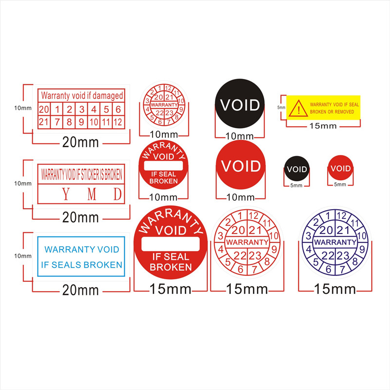 Factory Direct Wholesale Warranty Sealing Label Security Protection Sticker Void If Seal Broken Damaged Shredded Paper 2020-2023