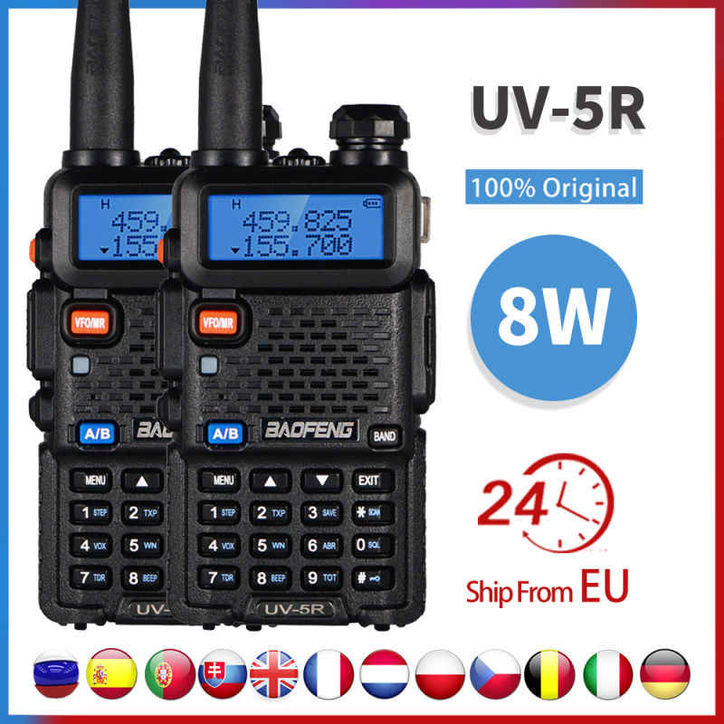 2 Stuks Real 8W Baofeng Uv-5r Walkie Talkie High Power Draagbare Ham Cb Radio Uv 5r Dual Band Vhf/Uhf Fm Transceiver Two Way Radio