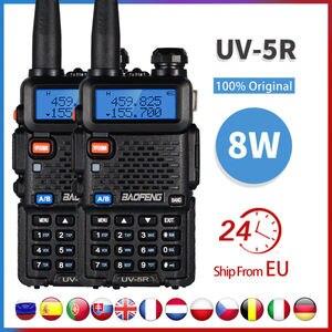 2pcs Real 8W Baofeng uv-5r Walkie Talkie High Power Portable Ham CB Radio uv 5r Dual Band VHF/UHF FM Transceiver Two Way Radio