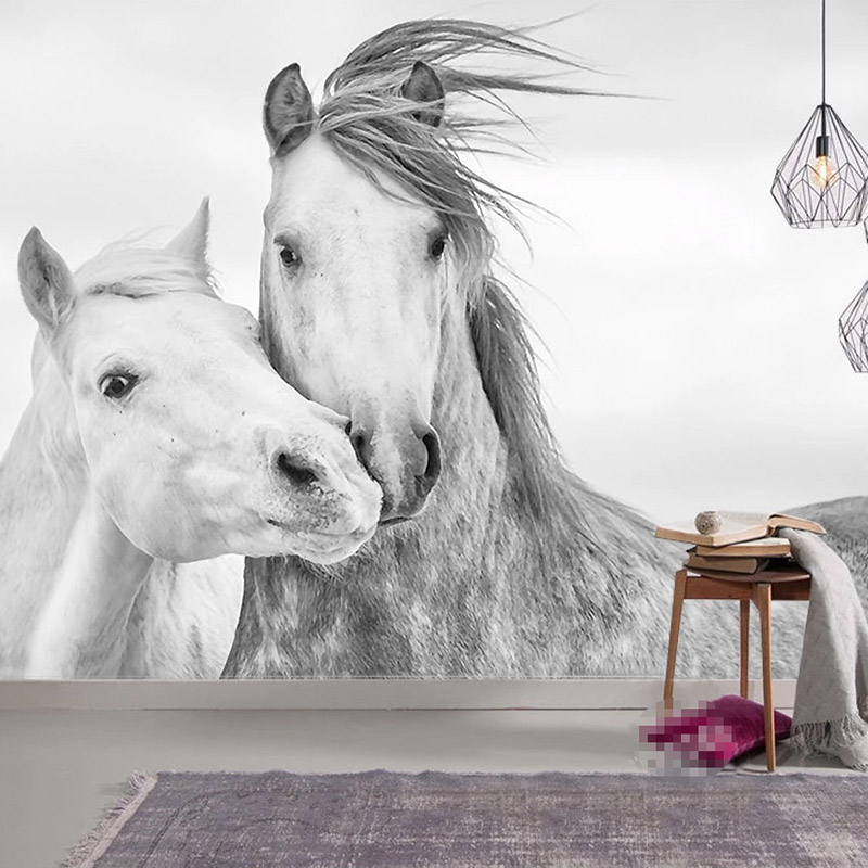 Custom 3D Photo Wallpaper Living Room Bedroom Wall Painting Nordic Modern Couple White Horse Wall Decor Mural Papel De Parede