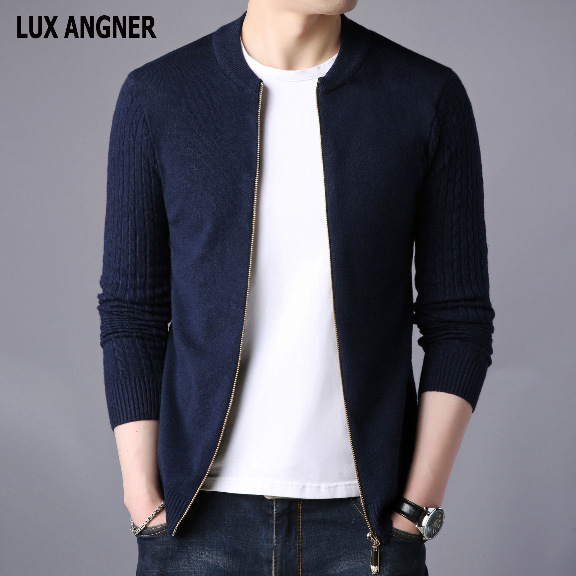 LUX ANGNER Men's Cardigan Sweater Men Long Sleeve Slim Fit Casual Knitted Sweaters 2020 Korean Fashion Men's Clothing Casacos