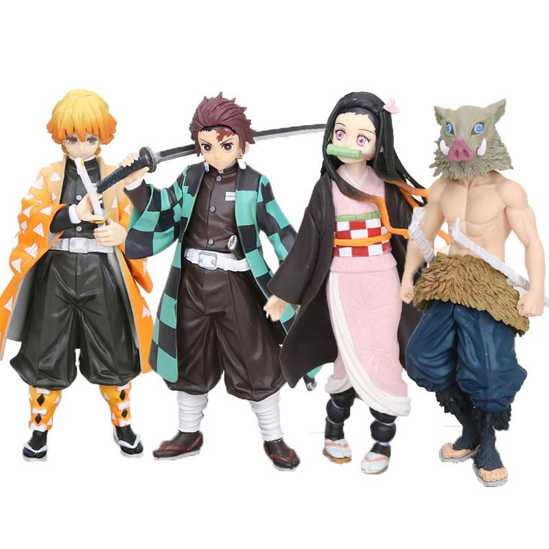 4pcs/set Anime Demon Slayer Kimetsu No Yaiba Figure Toy Kamado Tanjirou Nezuko Agatsuma Zenitsu Hashibira Inosuke Figure Toy