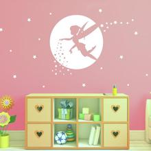"""Настенная Наклейка """"Фея"""" для девочек, декор комнаты, детская фея, луна, наклейка, украшение дома"""