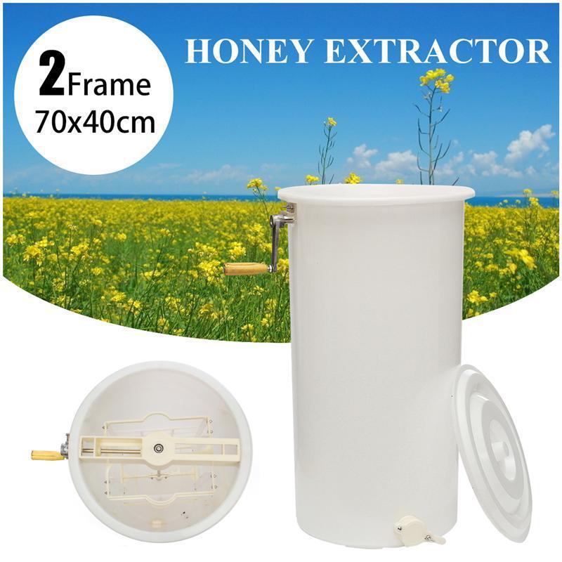 2 Frame Plastic Manual Bee Honey Extractor Honeycomb Beekeeping Equipment White 40x70cm