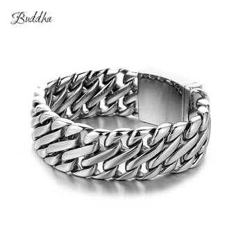 Double Curb Cuban Chain Bracelet Mens 316L Stainless Steel Wristband Bangle Silver Tone 23mm Buddha Bracelet with Logo - DISCOUNT ITEM  31% OFF All Category