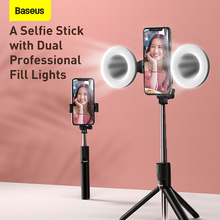 Baseus Bluetooth סוגר Selfie מקל למלא אור אלחוטי שלט רחוק Selfie מקל עם חצובה עבור הזרמה עבור טלפון