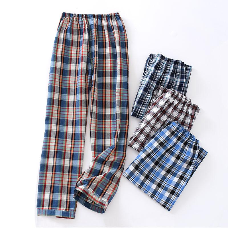 Autumn Soft Cotton Men's Pajamas Home Pants Large Size Plaid Print Sleepwear Trousers Fashion Male Casual Homewear Sleep Pants