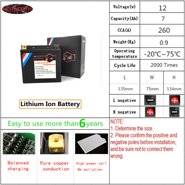 KP7 A Lithium iron Motorcycle Starte Battery 12V 7Ah CCA 260A LiFePO4 Motorbike Battery LFP Built in BMS For ATVs UTVs Scooter