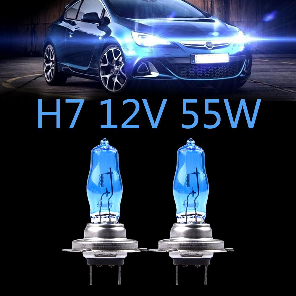 2Pcs High Quality HOD Car Headlights LED H7 12V 55W Quartz Ultra-white Light Lamp Halogen Bulb Running Lights 6000K Bulbs