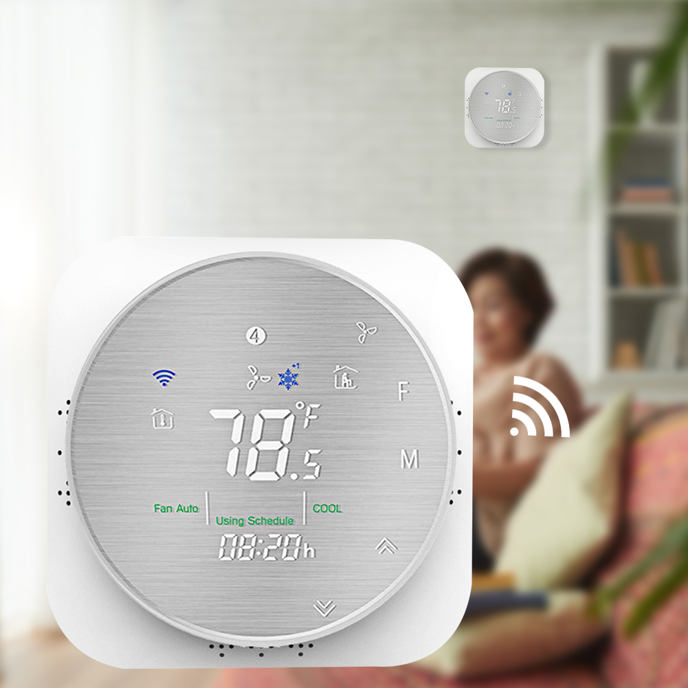 Voice Mobile Phone Office Hotel Programmable Flame Retardant Heat Pump Date Memory WIFI Temperature Control Smart Thermostat