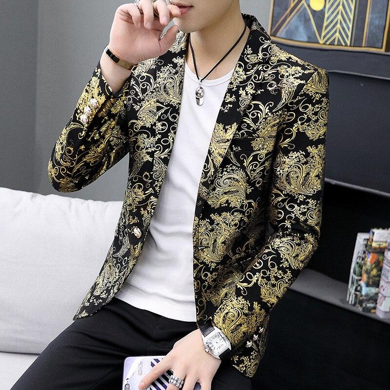 2019 Spring Clothing Men's Hair Stylist Bronze Cool Small Suit Korean-style Slim Fit Suit Teenager MEN'S Coat