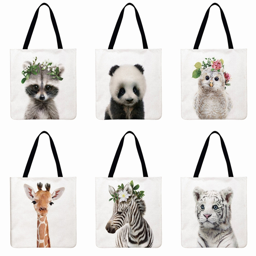Cute Animal Printing Tote Bag For Women Shoulder Bag Linen Febric Casual Tote Reusable Shopping Bag Foldable Beach Bag Hand Bag