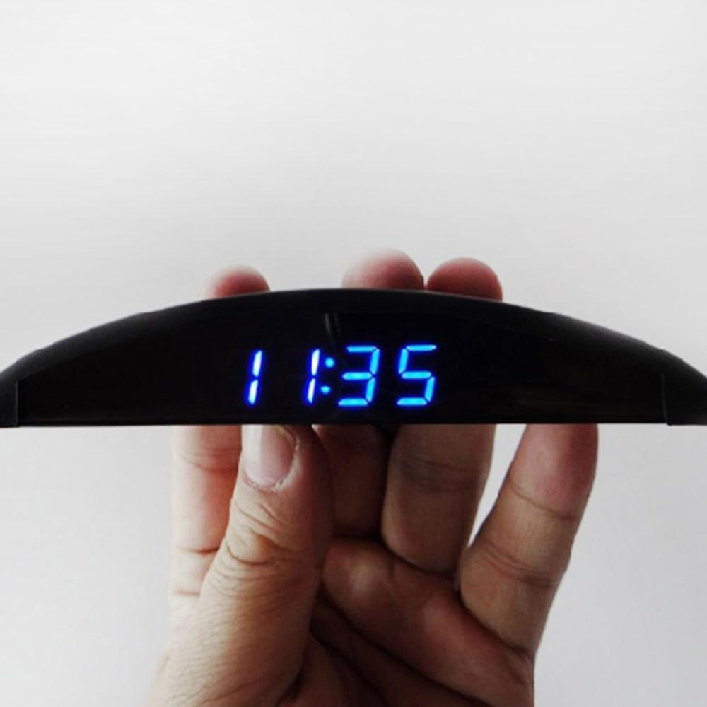 Car Onboard Electronic Clock Ultra-thin Thermometer Voltage Meter Blue Font Luminous Display