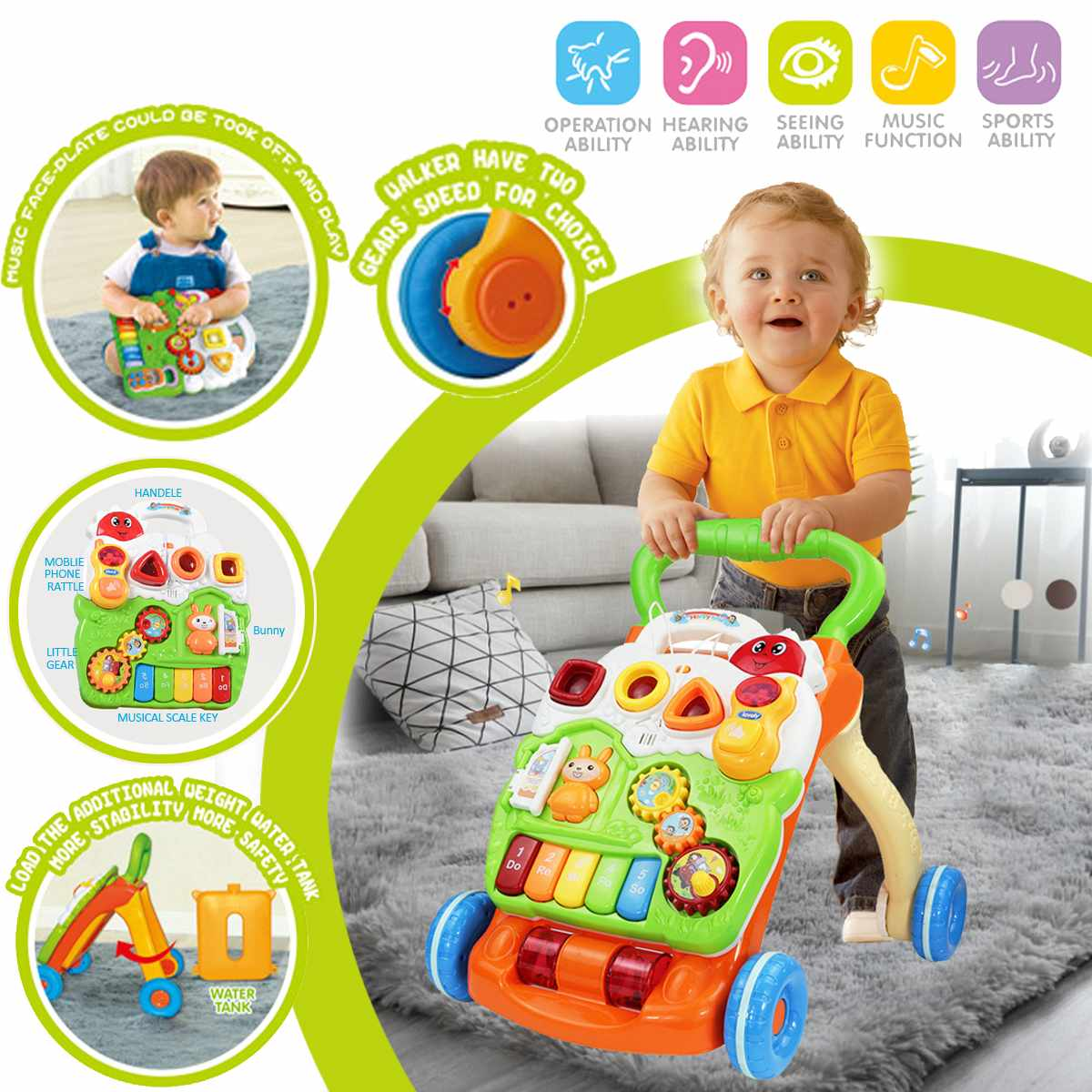 Baby Multi-Functional Toddler Kids Baby Walker Trolley Car With Four Wheels Training Learning Toy Musical Activity Trolley