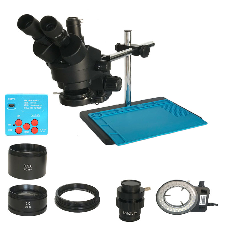 Cámara de microscopio industrial con HDMI de 30MP de Rusia, 3,5 x-45X, microscopio estéreo Trinocular, lente objetivo auxiliar 2.0X