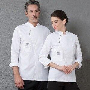 Image 2 - Yeni şef üniforma Unisex şef elbise fırın restoran mutfak iş elbisesi uzun kollu garson Catering şef ceketler Jaleco