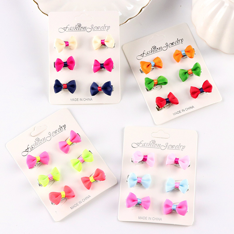 6 Pcs/set Mini Baby Hair Pins Bow Colorful Newborn Baby Girls Hair Clip Lot Baby Hair Clips Bowknot Metal Kids Accessories Girls