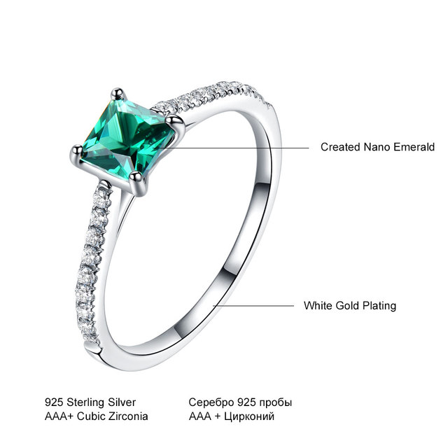 UMCHO Green Emerald Gemstone Rings for Women Genuine 925 Sterling Silver Fashion May Birthstone Ring Romantic Gift Fine Jewelry 3