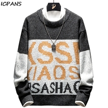 ICPANS 2019 Winter Hip Hop Sweater Men Pullover Print Letter Streetwear Knitted Sweater Retro Vintage Autumn Sweaters Cotton