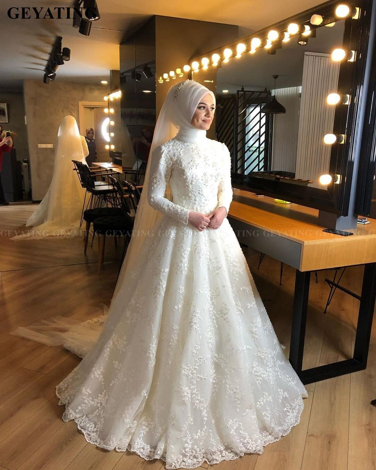 2020 Elegant Off White Islamic Muslim Wedding Dress with Hijab Long Sleeves High Neck Pearls Lace Arabic Bridal Gowns in Dubai-in Wedding Dresses from Weddings & Events