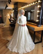 2020 우아한 오프 화이트 이슬람 무슬림 웨딩 드레스 hijab 긴 소매 높은 목 진주 레이스 아랍어 신부 가운 두바이