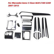 Para Mercedes-benz Clase C W204 C180 C200 2007-2013 accesorios de fibra de carbono, decoración de coche decoración Interior Trim pegatinas ABS