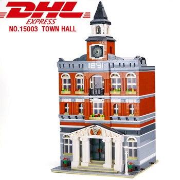 15003 streetview Series Town Hall Architecture Building Blocks Set Model Bricks Toy lepining 10224 Modular Building Model toys