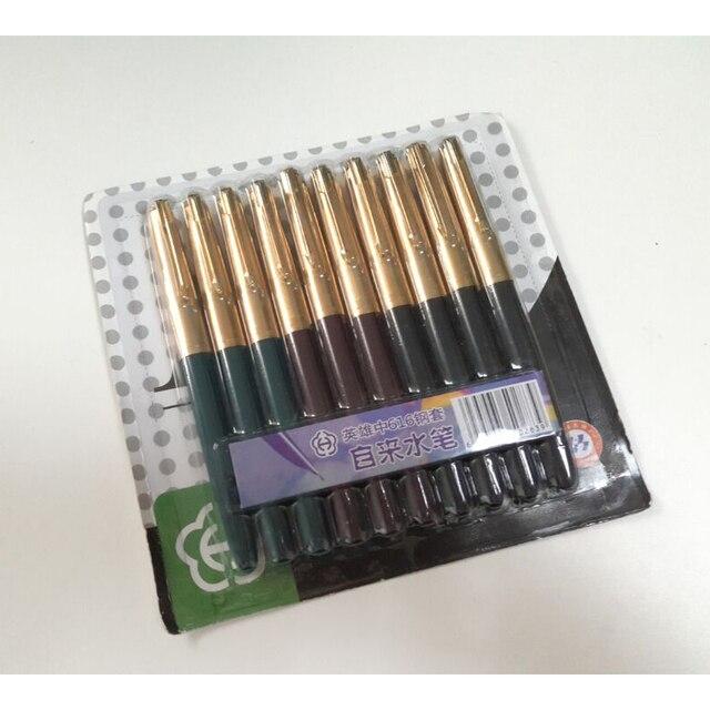 10 adet/takım Hero 616 lüks altın kap 0.5mm dolma kalem yüksek kaliteli Metal mürekkep kalemler ofis malzemeleri okul malzemeleri ücretsiz kargo