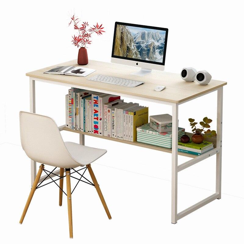 Simple And Modern Steel And Wood Desktop Computer Desk Home Student Bedroom Bookshelf Simple Desk Desk Desk