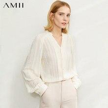 Amiiミニマリズム秋ファッションタッセルデザインの女性ブラウストップス因果ネックランタンスリーブルーズ女性ブラウス12040208
