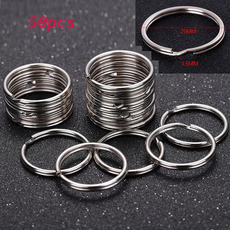 Брелок для ключей из нержавеющей стали, кольцо с разрезом для ключей «сделай сам», 30/50 шт./лот 25/30 мм