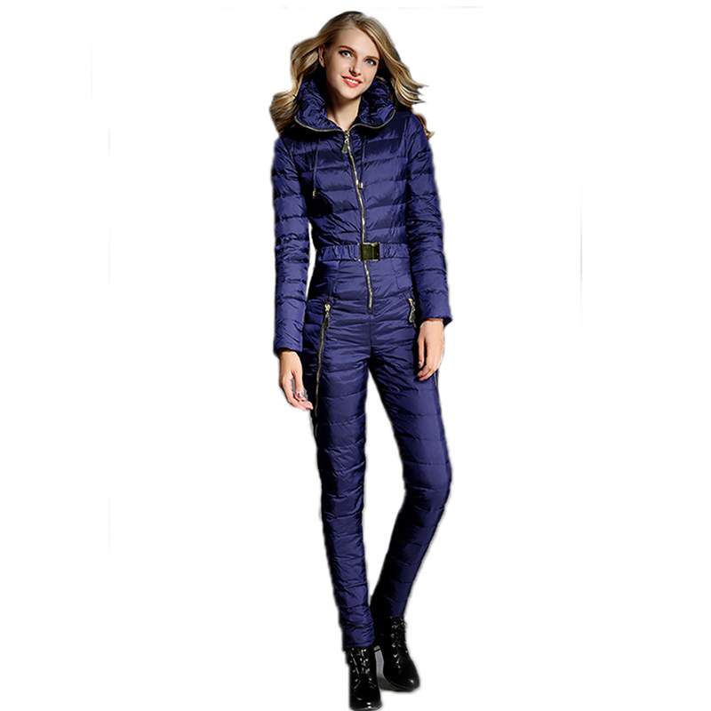 2019 One Piece Ski Suit Women Duck Down Overalls Mountain Skiing Jumpsuit Warm Winter Ski Jacket Pants Breathable Snow Jackets