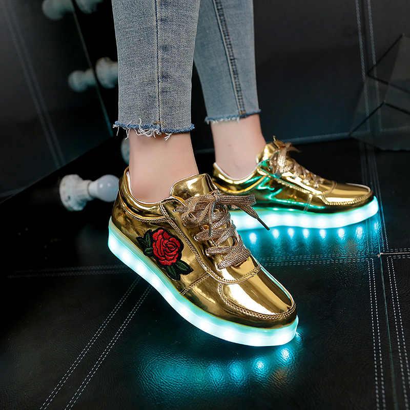 2018 ใหม่ขนาด 26-44 เด็กรองเท้าผ้าใบส่องสว่างสำหรับสาวเด็กผู้หญิงรองเท้า Led รองเท้าดอกไม้เรืองแสงรองเท้าผ้าใบ