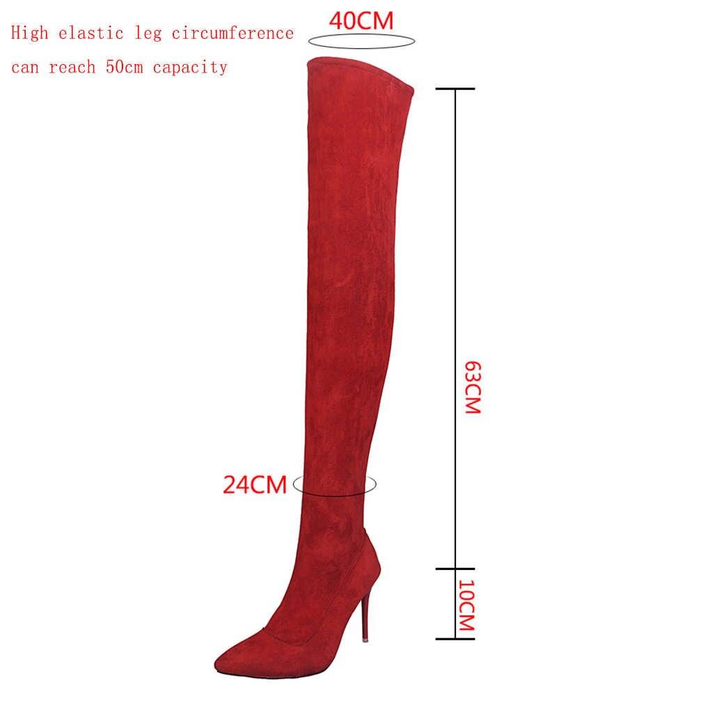 Kadın ayakkabısı kadın artı büyük büyük boy 35-43 diz çizmeler üzerinde ince yüksek topuk seksi parti çizmeler elastik botas de mujer 2019