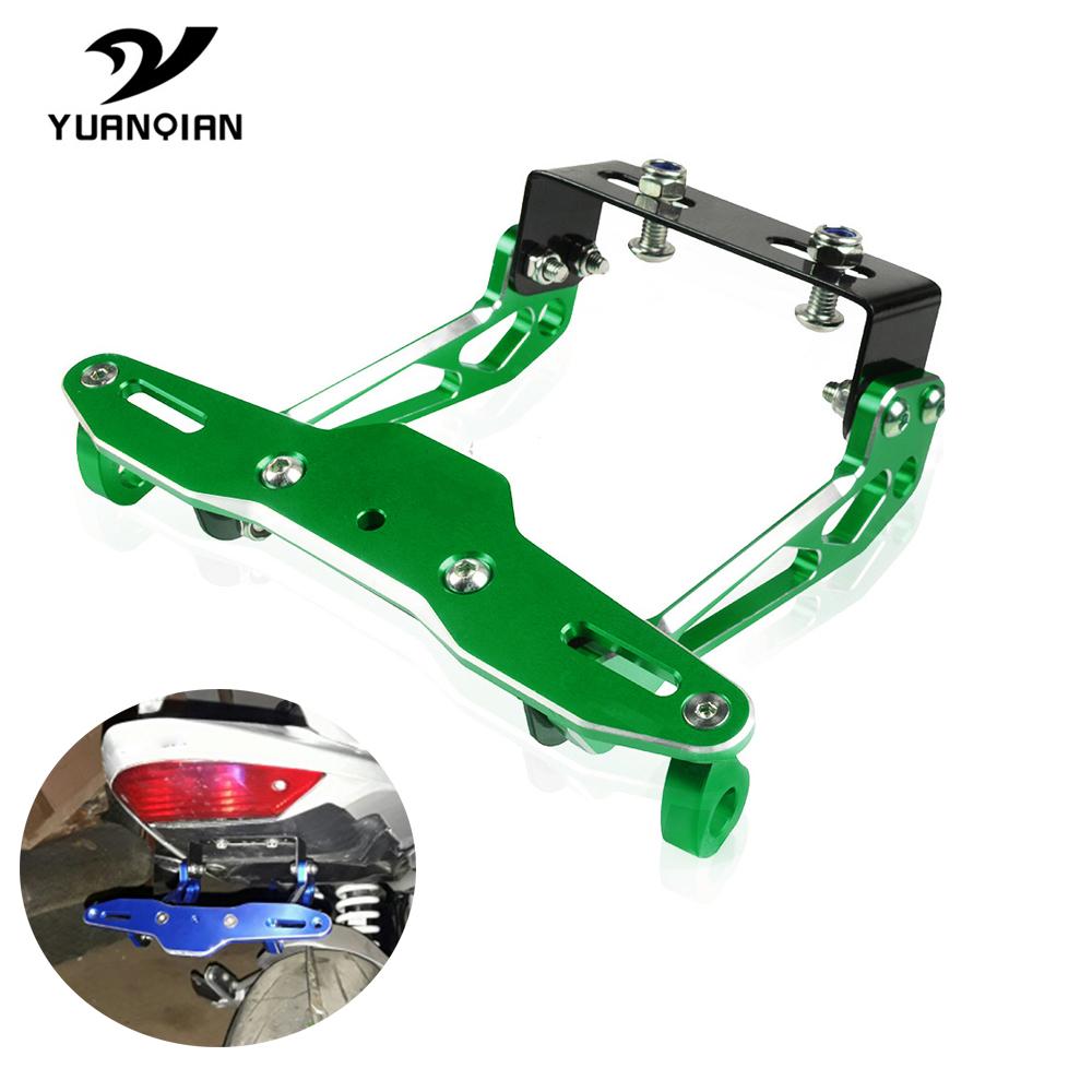 Universal CNC Motorcycle Aluminum License Number Plate Frame Holder Bracket For kawasaki Ninja ZX 6R monster energy W800/SE