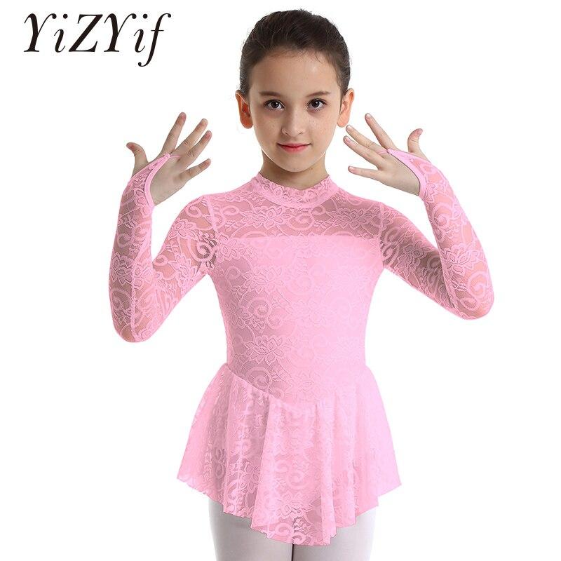 Kids Figure Ice Skating Dress Girls Ballet Dress Long Sleeves Mock Neck Floral Lace Ballet Leotard Dress Kids Ballet Dance Dress