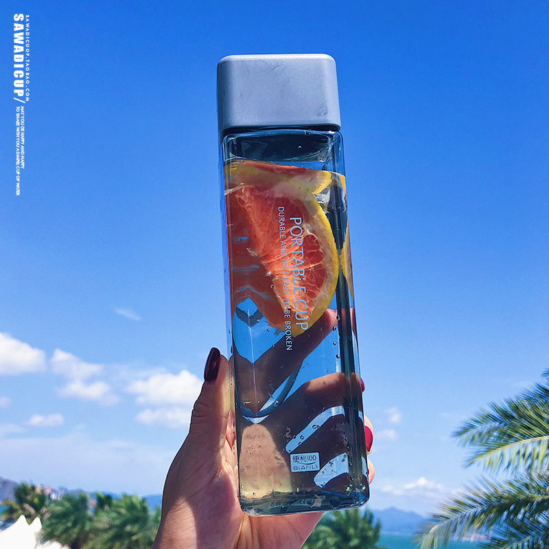 H3ed36750a5304bc7bbcd3d1c99b28988I 500ml Cute New Square Tea Milk Fruit Water Cup for Water Bottles Drink with Rope Transparent Sport Korean Style Heat Resistant