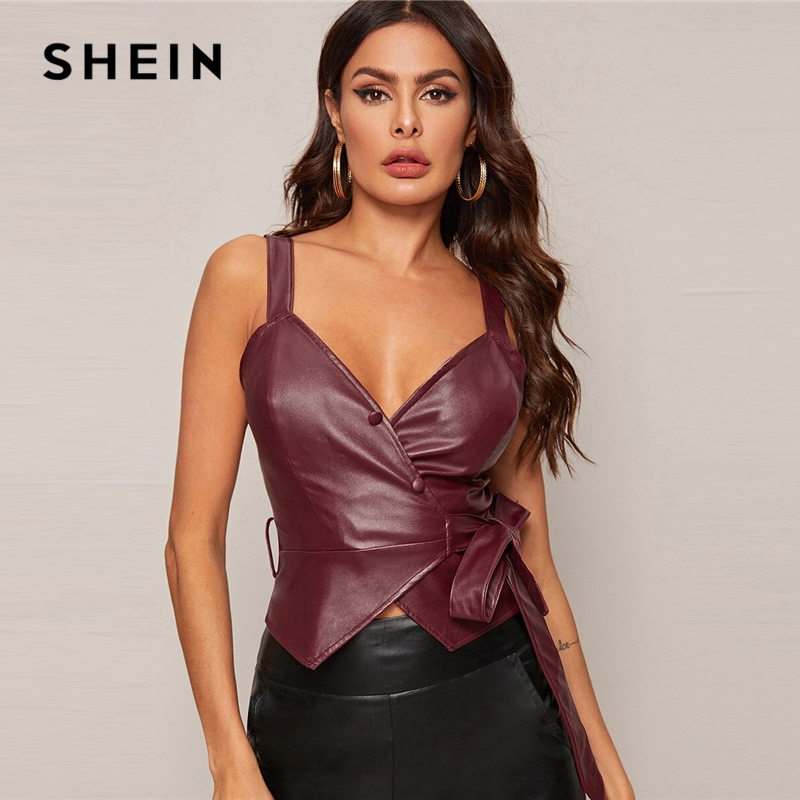SHEIN Burgundy Surplice Wrap Knot Side PU Leather Sexy Tank Women Tops Spring Sleeveless Solid Buttoned Ladies Glamorous Vests
