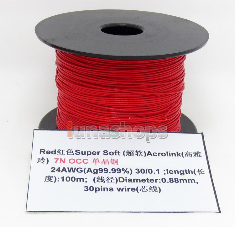 LN004500 Red <font><b>100m</b></font> <font><b>24AWG</b></font> Ag99.9% Acrolink Pure 7N OCC Signal Wire Cable 30/0.1mm2 Dia:0.88mm For DIY image