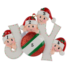Joy Family Members of 4 Personalized Christmas Holiday Ornaments