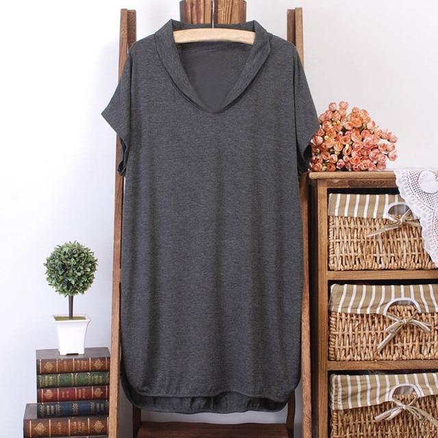 150Kg Plus size women's summer loose batwing short sleeve long T-shirt bust 156cm 5XL 6XL 7XL 8XL 9XL 10XL V-neck modal top 3