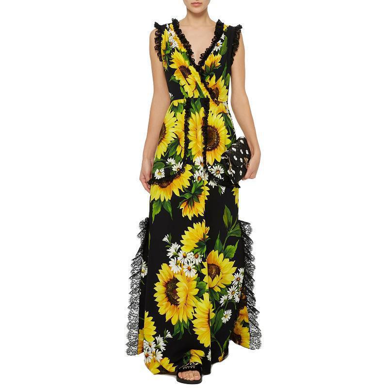 Printed   Jumpsuit   Woman Fashion Overalls Bodysuit Floral V-neck Female Sunflower   Jumpsuits